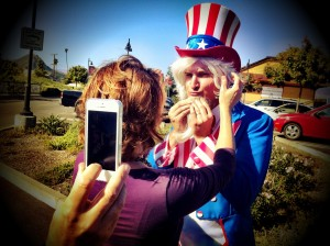 Gary gets ready to play Uncle Sam