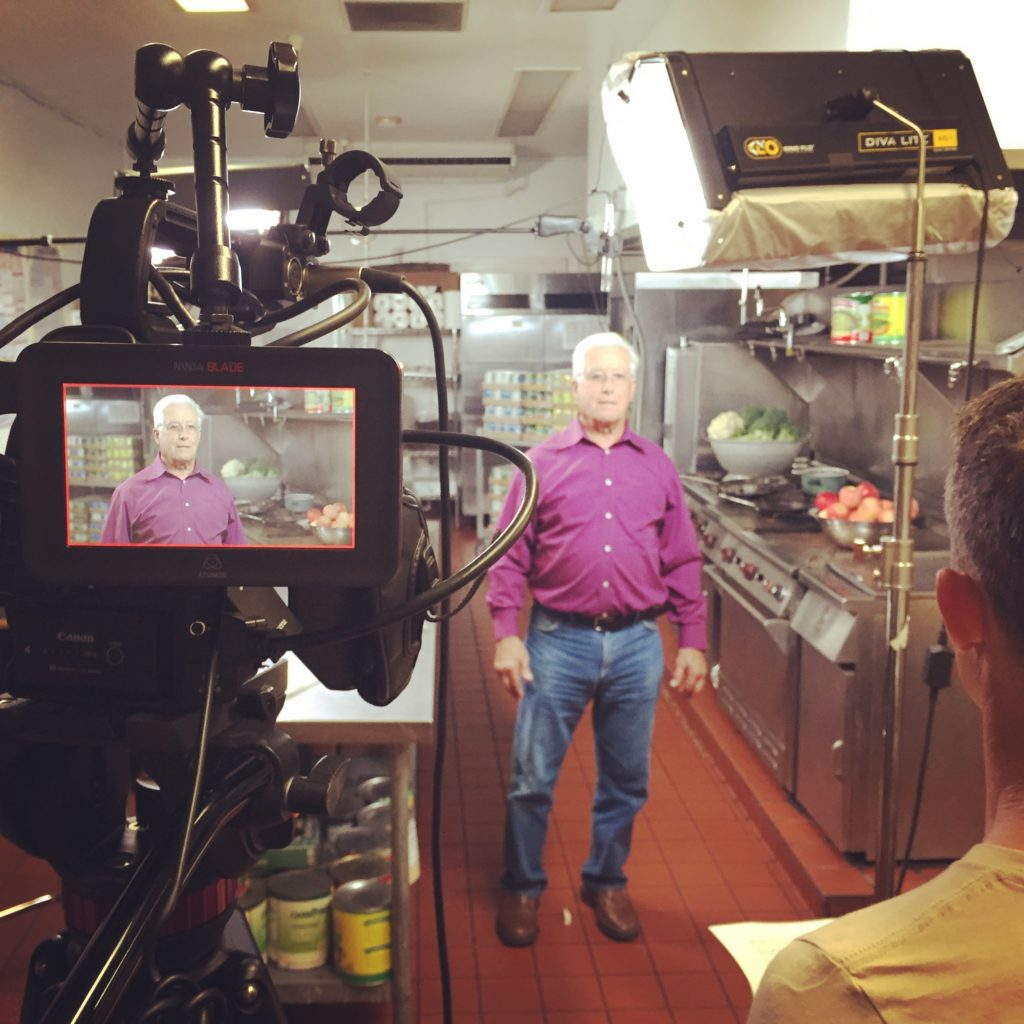 Filming executive Director Elias Niveh for the TV commercial.